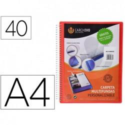 Capa catalogo carchivo archivex polipropileno canguro com espiral 40 bolsas fecho elasticos din a4 vermelho