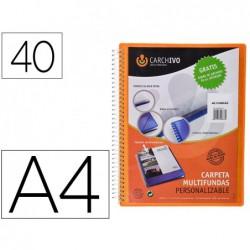 Capa catalogo carchivo archivex polipropileno canguro com espiral 40 bolsas fecho elastico din a4 laranja