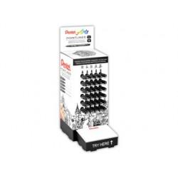 Marcador pentel pointliner com tinta pigmentada cor preto expositor de 30 unidades