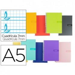 Caderno espiral liderpapel a5 micro crafty capa forrada 80f 90 gr pautado 7mm dupla margem 6 taladros cores sortidas