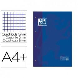 Recarga cor 1 oxford din a4+ 80 folhas 90 gr quadricula 5 mm 4 furos cor azul escuro