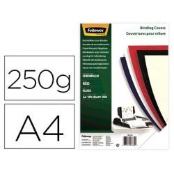 Capa de encadernacao fellowes cartao din a4 brilho vermelha chromolux 250 gr pack de 100 unidades