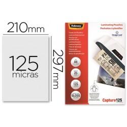 Bolsa de plastificar fellowes brilho din a4 125 microns pack de 25 unidades