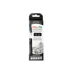 Marcador pentel pointliner com tinta pigmentada cor preto conjunto de 5 unidades