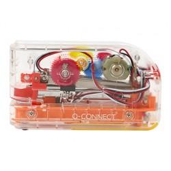 Agrafador q-connect eletrico plastico transparente mecanismo de cores capacidade 20 folhas usa agrafes 24/6 26/6