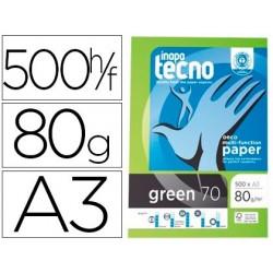 Papel fotocopia tecno green 100% reciclado din a3 80 gr pack de 500 folhas