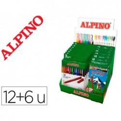 Marcador alpino standard caixa de 12 cores expositor de 12 unidades + 6 caixas lapis de cores alpino 654 gratis