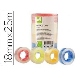 Fita adesiva q-connect com mandril de cor 25 mt x 18 mm pack de 4 cores