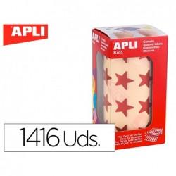 Etiquetas apli auto adesivas estrela vermelho metalizado rolo com 1416 unidades