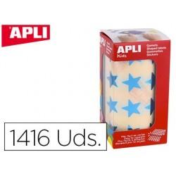 Etiquetas apli auto adesivas estrela azul metalizado rolo com 1416 unidades