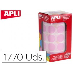 Etiquetas apli auto adesivas circulares 20 mm rosa rolo com 1770 unidades