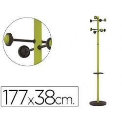Perchero metalico unilux accueil pie 8 colgadores con paraguero y bandeja goteo verde 177 x 38 cm