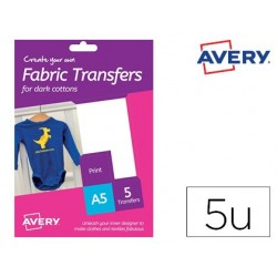 Papel transfer avery para camisetas algodon colores oscuros ink-jet din a5 pack de 5 hojas