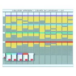 Kit planificacion de tarjetas t nobo 66x80 cm 12 columnas 2x32 ranuras + 500 tarjetas t n 2 colores surtidos + 100