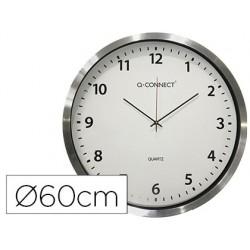 Relogio q-connect de parede plastico de escritorio redondo 60 cm moldura cromada