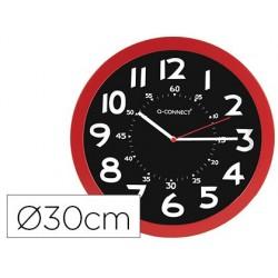 Relogio q-connect de parede plastico de escritorio redondo 30 cm cor vermelho e preto