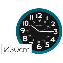 Relogio q-connect de parede plastico de escritorio redondo 30 cm cor azul e preto