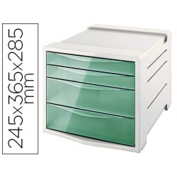 Bloco classificador de secretariaa esselte colour ice plastico 4 gavetas cor verde 245x365x285 mm
