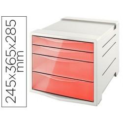 Bloco classificador de secretaria esselte colour ice plastico 4 gavetas cor damasco 245x365x285 mm