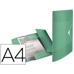 Pasta esselte com elasticos tres abas colour ice polipropileno din a4 cor verde