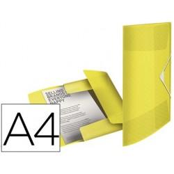 Pasta esselte com elasticos tres abas colour ice polipropileno din a4 cor amarelo