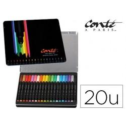 Marcador bic conte cor collection caixa metalica de 20 unidades cores sortidas
