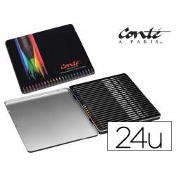 Lapis de cores bic conte cor collection caixa metalica de 24 unidades cores sortidas