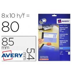 Cartao de visita avery branco mate 85x54 mm imprimivel dupla face para tinteiro 260 gr pack de 80 unidades