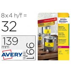 Etiqueta adesiva avery poliester amarelo fluorescente 99