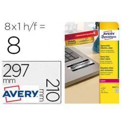 Etiqueta adesiva avery poliester prata 210x297 mm laser pack de 8 unidades
