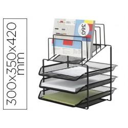 Tabuleiro de secretaria q-connect de envelopes metalica preta 3 bandejas 300x350x420 mm