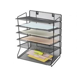 Tabuleiro de secretaria q-connect metalica preta 6 bandejas 325x230x390 mm
