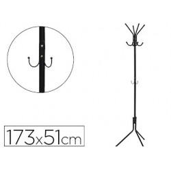 Cabide metalico q-connect preto 8 suportes 173x51 cm
