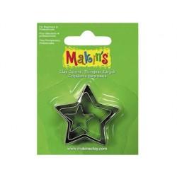 Cortador para pasta modelar estrela blister de 3 pecas diferentes tamanhos
