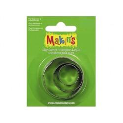 Cortador markins para pasta modelar circulo blister de 3 pecas diferentes tamanhos