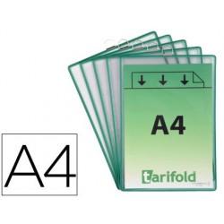 Bolsa para pendurar tarifold din a4 pvc com anel moldura verde pack de 5 unidades