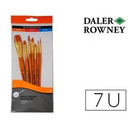 Pinceis daler rowney simply art cabo dourado blister de 7 unidades