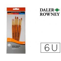 Pinceis daler rowney simply art cabo dourado blister de 6 unidades