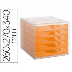Bloco de secretaria archivo 2000 empilhavel 5 gavetas laranja translucido 260x270x340 mm
