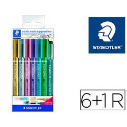 Marcador staedtler metalico 8323 blister de 6 unidades cores sortidas + 1 marcador calibrado 308 c2-9