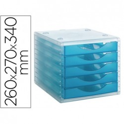 Bloco de secretaria archivo 2000 empilhavel 5 gavetas lagoon translucido 260x270x340 mm