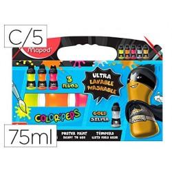 Guache maped color peps ultra lavavel caixa de 5 cores sortidas 3 fluor e 2 metal 75 ml