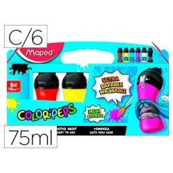 Guache maped color peps ultra lavavel caixa de 6 cores sortidas primarios 75 ml