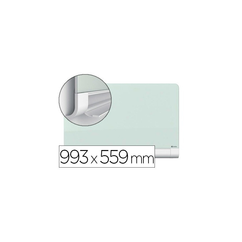 Quadro branco nobo diamond cristal magnetica esquinas redondas 993x559 mm