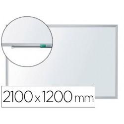 Quadro branco nobo nano clean magnetico lacada aco moldura aluminio 2100x1200 mm