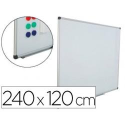 Quadro branco rocada aco vitrificado magnetico moldura aluminio e cantos pvc 240 x 120 cm inclui bandeja para marcador
