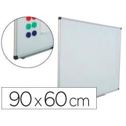 Quadro branco rocada aco vitrificado magnetico moldura aluminio e cantos pvc 90x60 cm inclui bandeja para marcador