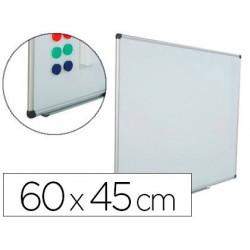 Quadro branco rocada aco vitrificado magnetico moldura aluminio e cantos pvc 60x45 cm inclui bandeja para marcador