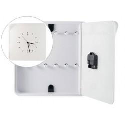 Armario plastico porta chaves paperflow com relogio para 12 chaves 320x60x320 mm branco