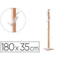 Cabide de madeira paperflow faia 8 suportes branco altura 180 cm